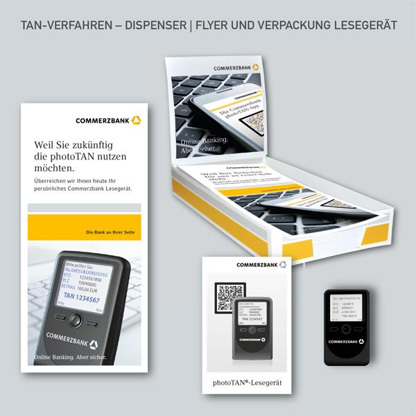 Flyer TAN-Verfahren, PhotoTAN, Dispenser, Verpackung Lesegerät