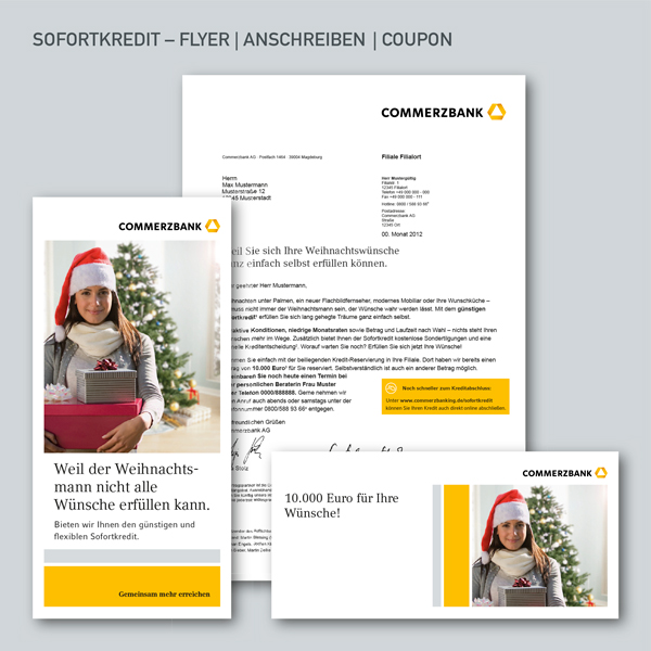 Sofortkredit, Mailing, Flyer, Anschreiben, Coupon